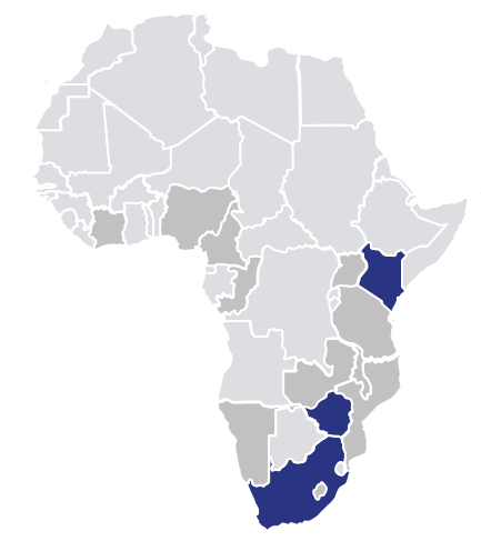 map of sub-Saharan Africa prioritized for DPP introduction