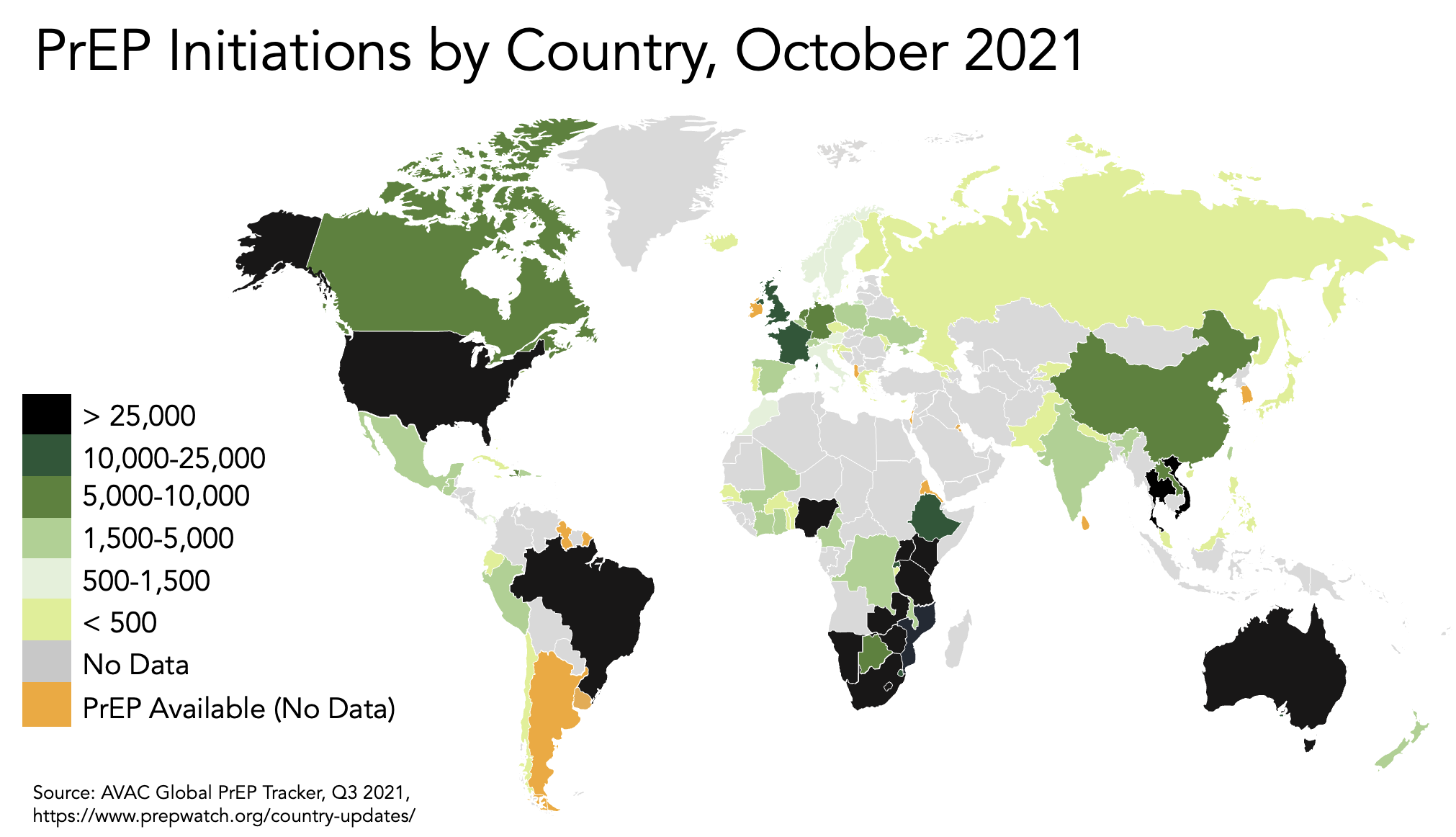 map of PrEP initiations by country